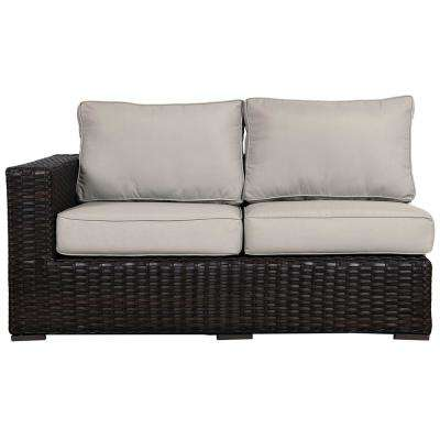 Santa Monica Patio Wicker Right Arm Outdoor Sectional Chair with Fabric Tan Cushion