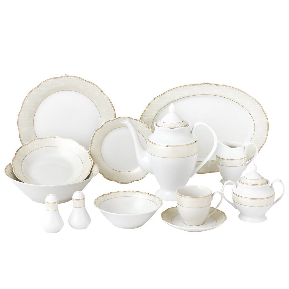 57-Piece Wavy Porcelain Dinnerware Set