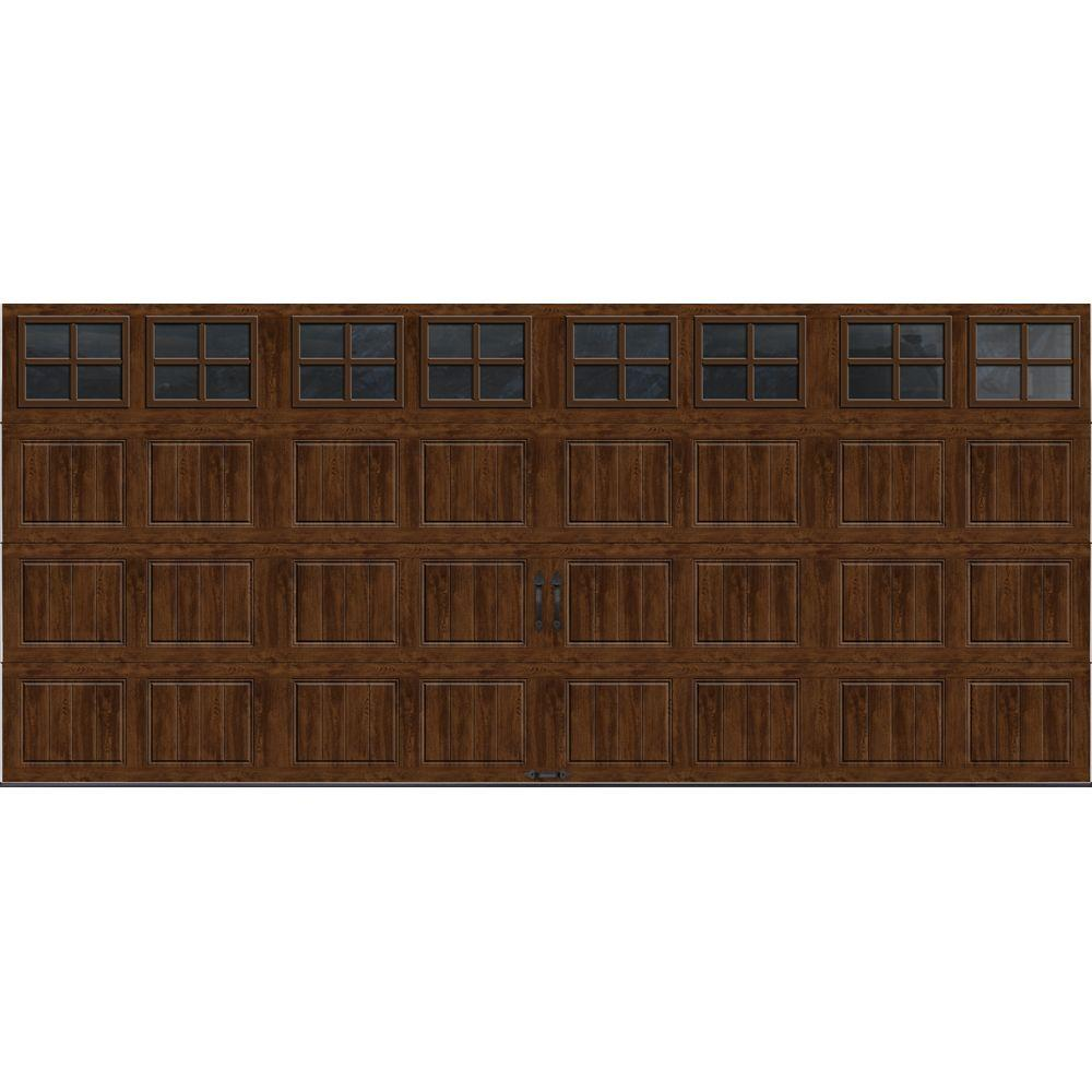 Clopay Gallery Collection 16 ft. x 7 ft. 18.4 R-Value Intellicore Insulated Ultra-Grain Walnut Garage Door with SQ22 Window