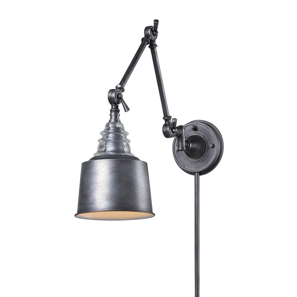 Insulator Glass 1-Light Weathered Zinc Wall-Mount Swing Arm Sconce