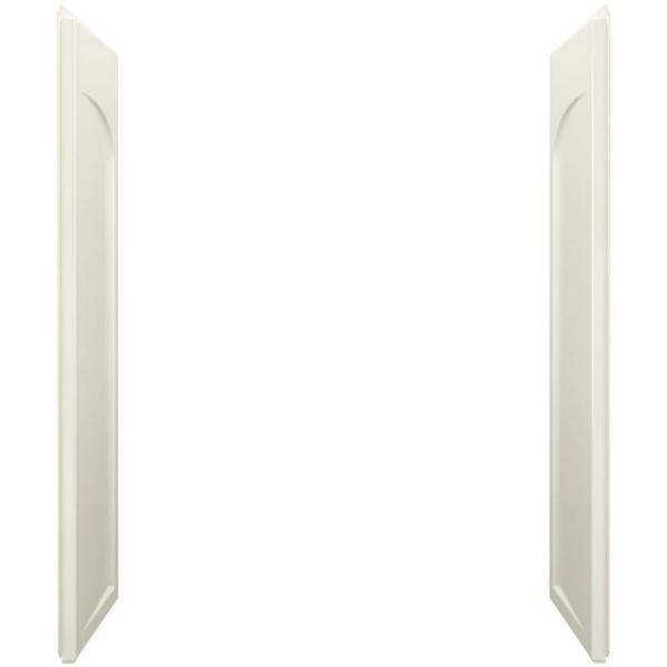 STERLING Ensemble 1 in. x 32 in. x 60 in. 2-Piece Direct-to-Stud Shower End Wall Set with Age-in-Place Backers in Biscuit