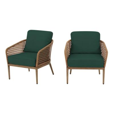 Coral Vista Brown Wicker Outdoor Patio Lounge Chair with CushionGuard Charleston Blue-Green Cushions (2-Pack)