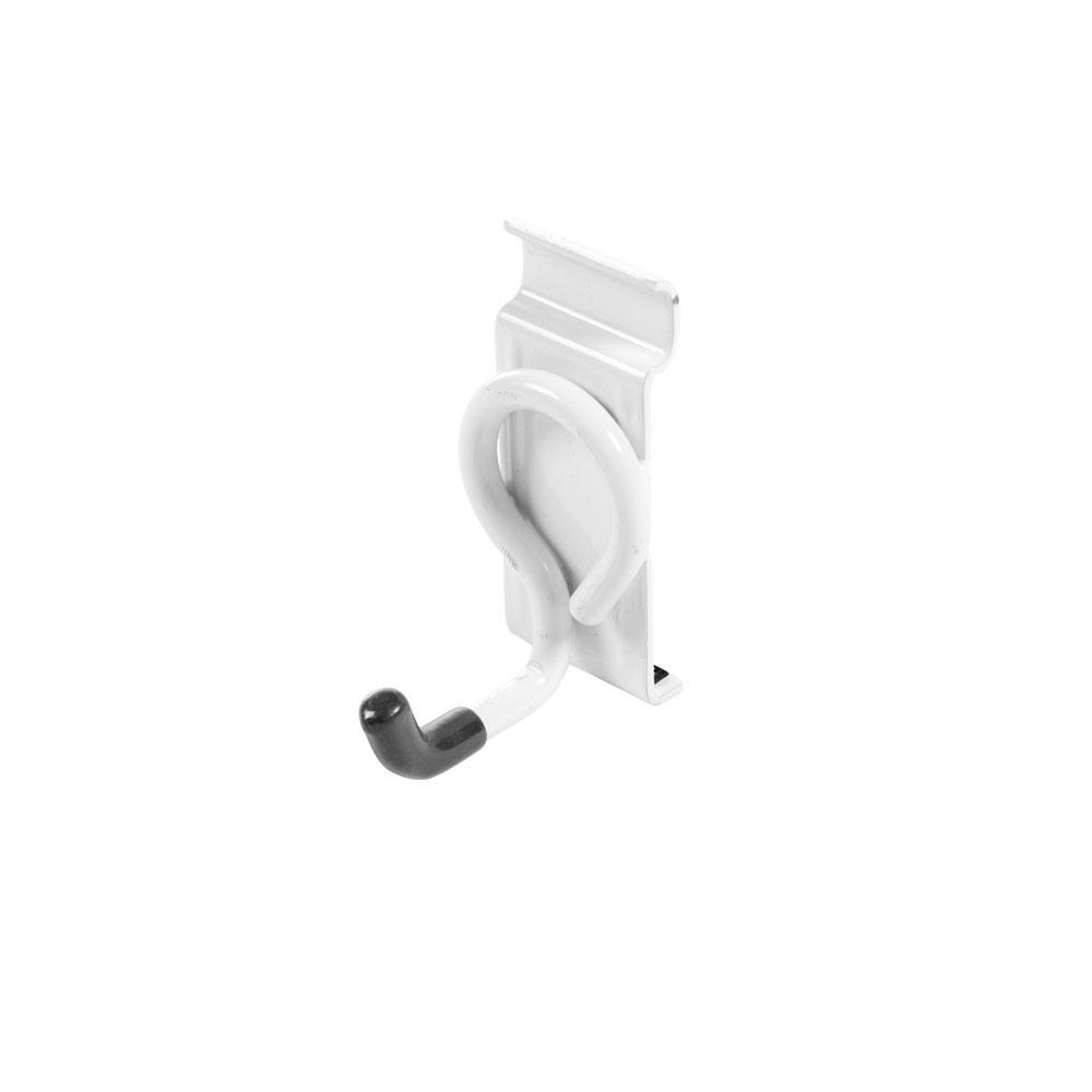 WallTech 3.5 in. x 1.5 in. White Steel Short Single Hook Bracket for Wire Shelving