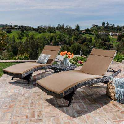 Salem Multi Brown 5 Piece Wicker Outdoor Chaise Lounge With Caramel Cushions
