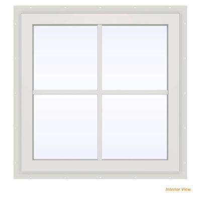 23.5 in. x 23.5 in. V-2500 Series Bronze Painted Vinyl Fixed Picture Window with Colonial Grids/Grilles