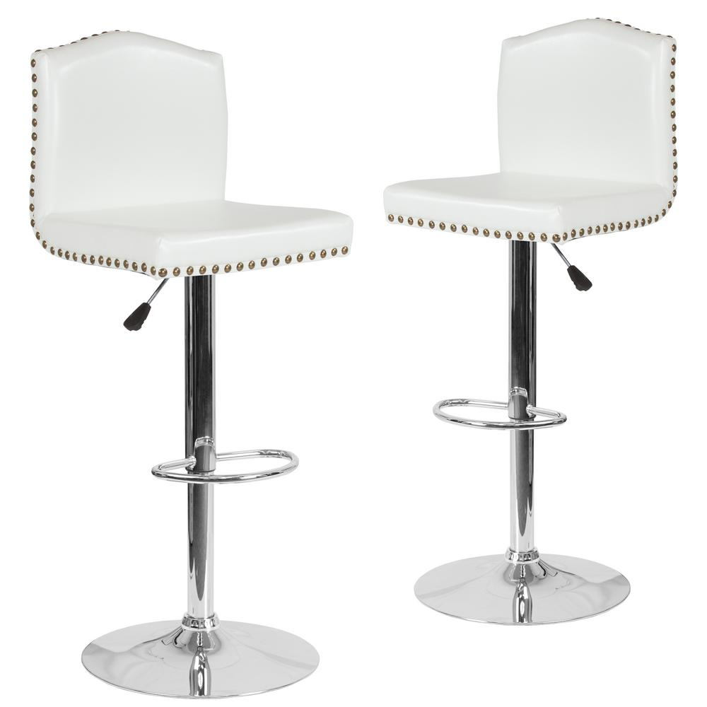 Prime 32 5 In White Leather Bar Stool Set Of 2 Theyellowbook Wood Chair Design Ideas Theyellowbookinfo