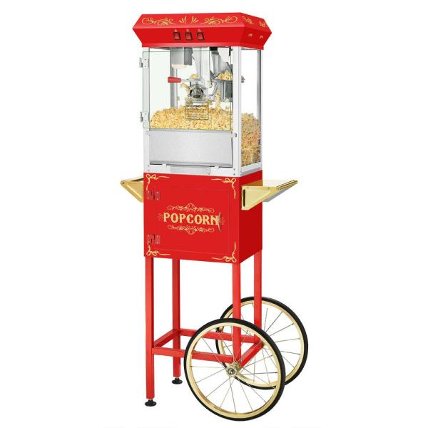 8 oz. Movie Night Red Popcorn Machine with Cart