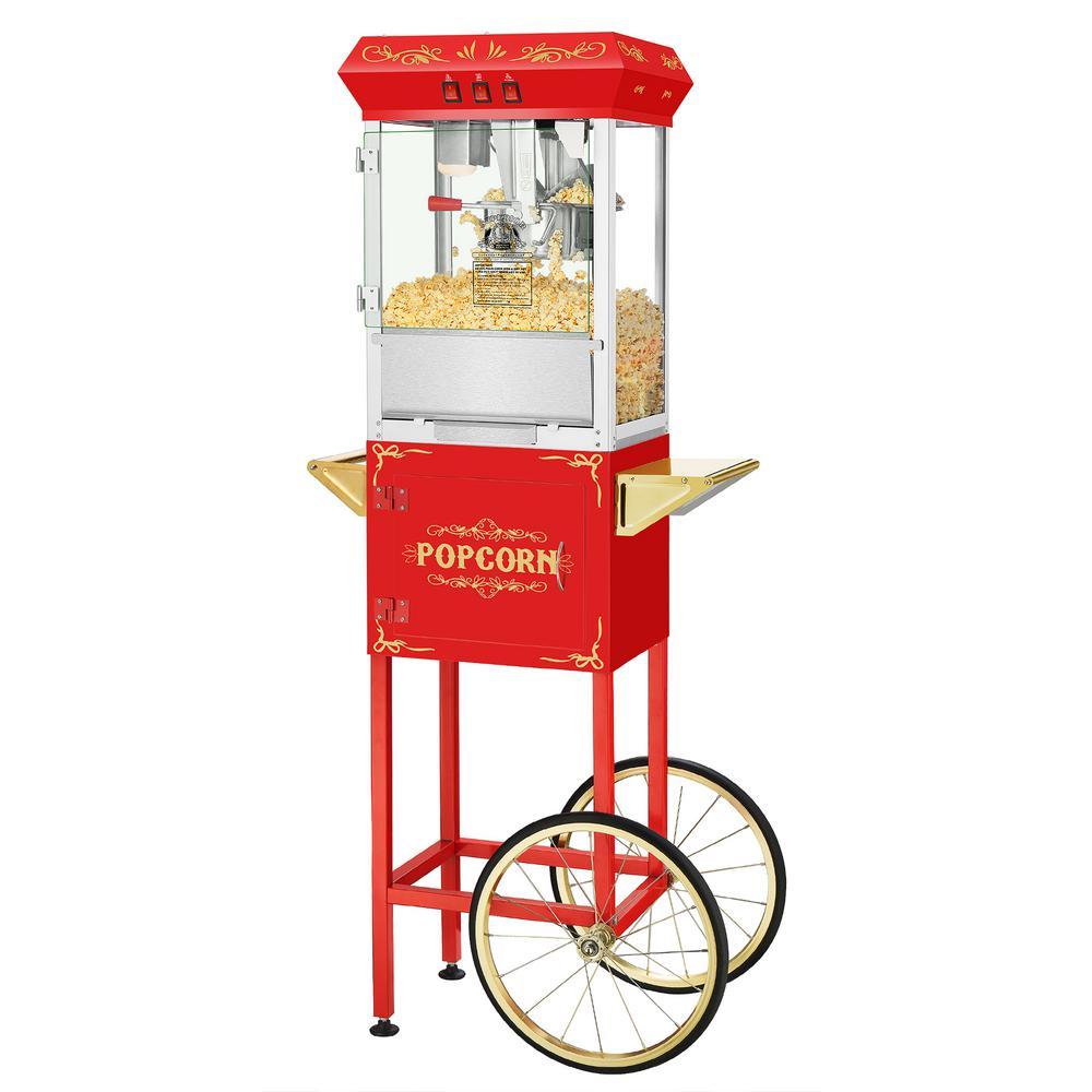 8 oz. Movie Night Red Popcorn Machine with Cart