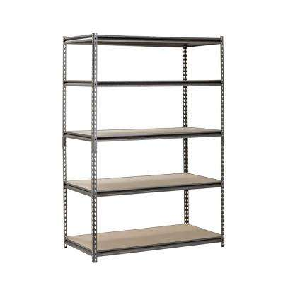 72 in. H x 48 in. W x 24 in. D 5 Shelf Z-Beam Boltless Steel Shelving Unit in SilverVein