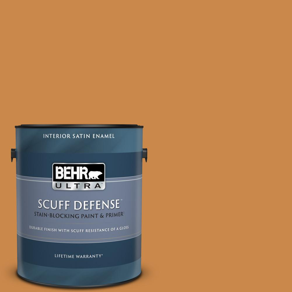 Behr Ultra Scuff Defense 1 Gal M240 7 Golden Pumpkin Extra Durable Satin Enamel Interior Paint And Primer In One 775301 The Home Depot