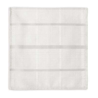60 in. W x 84 in. L OvaL White Elrene Elegance Plaid Damask Fabric Tablecloth