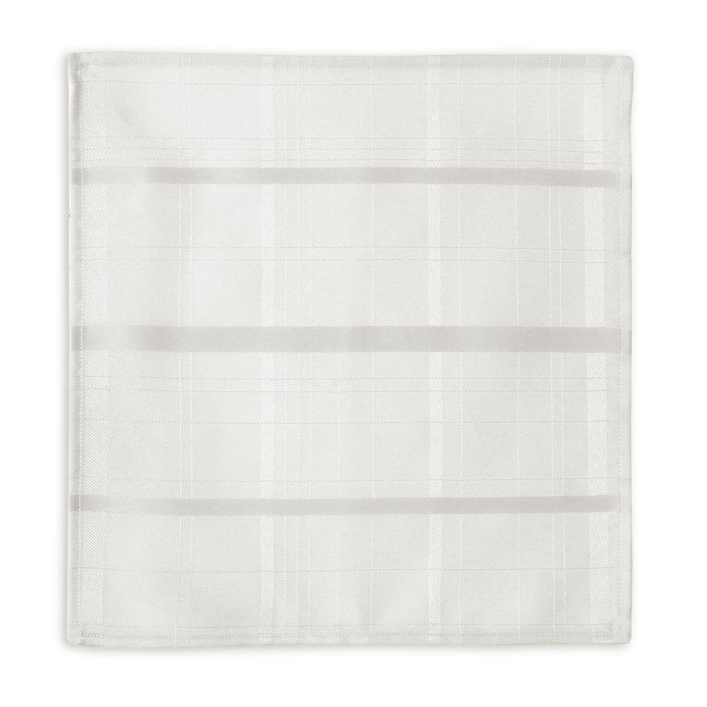 70 in. Round White Elrene Elegance Plaid Damask Fabric Tablecloth