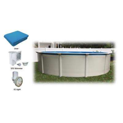 24 ft. Round 52 in. Steel Wall Above Ground Pool Starters Package