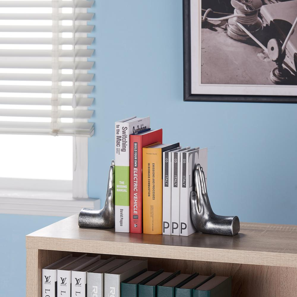 DANYA B Hands Silver Resin Bookends (Set of 2), Black was $25.95 now $17.65 (32.0% off)