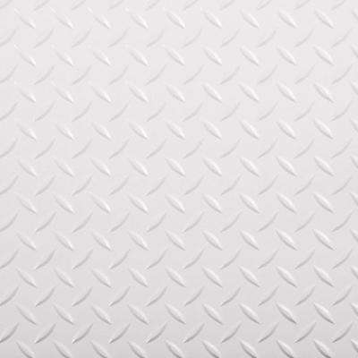 RaceDay 12 in. x 12 in. Peel and Stick Diamond Tread Absolute White Polyvinyl Tile (20 sq. ft. / case)