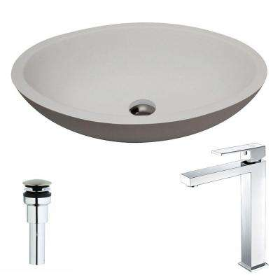 Maine Series 1-Piece Man Made Stone Vessel Sink in Matte White with Enti Faucet in Polished Chrome