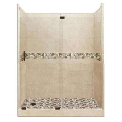Tuscany Grand Slider 30 in. x 60 in. x 80 in. Left Drain Alcove Shower Kit in Brown Sugar and Old Bronze Hardware
