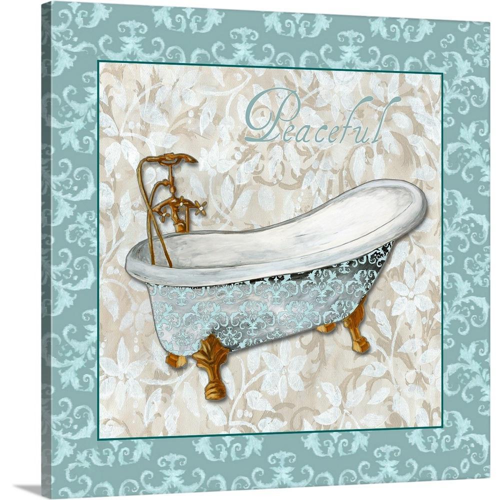 """Bath Tub with Blue Tile Border"" by Megan Duncanson Canvas Wall Art"