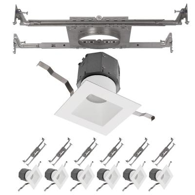 Pop-in 4 in. 3000K Square New Construction Recessed Integrated LED Trim Kit in White (6-Pack)
