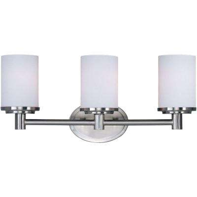 Cylinder 3-Light Satin Nickel Bath Vanity Light