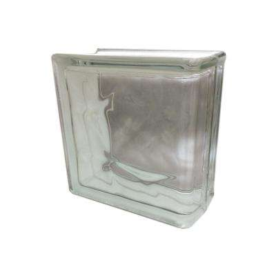 Nubio 7.75 in. x 7.75 in. x 3.875 in. Wave Pattern End Glass Block (4-Pack)
