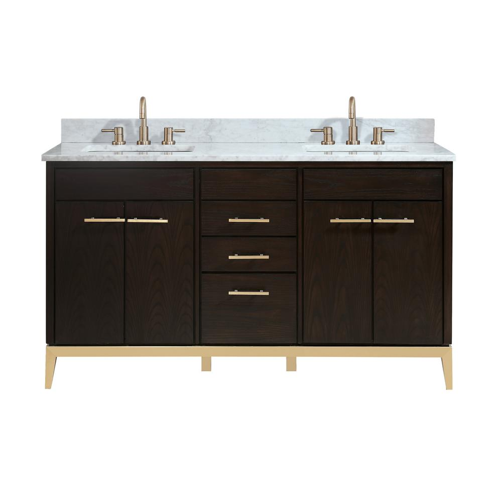 Stupendous Avanity Hepburn 61 In W X 22 In D Bath Vanity In Dark Chocolate With Marble Vanity Top In Carrara White With Basins Home Interior And Landscaping Synyenasavecom
