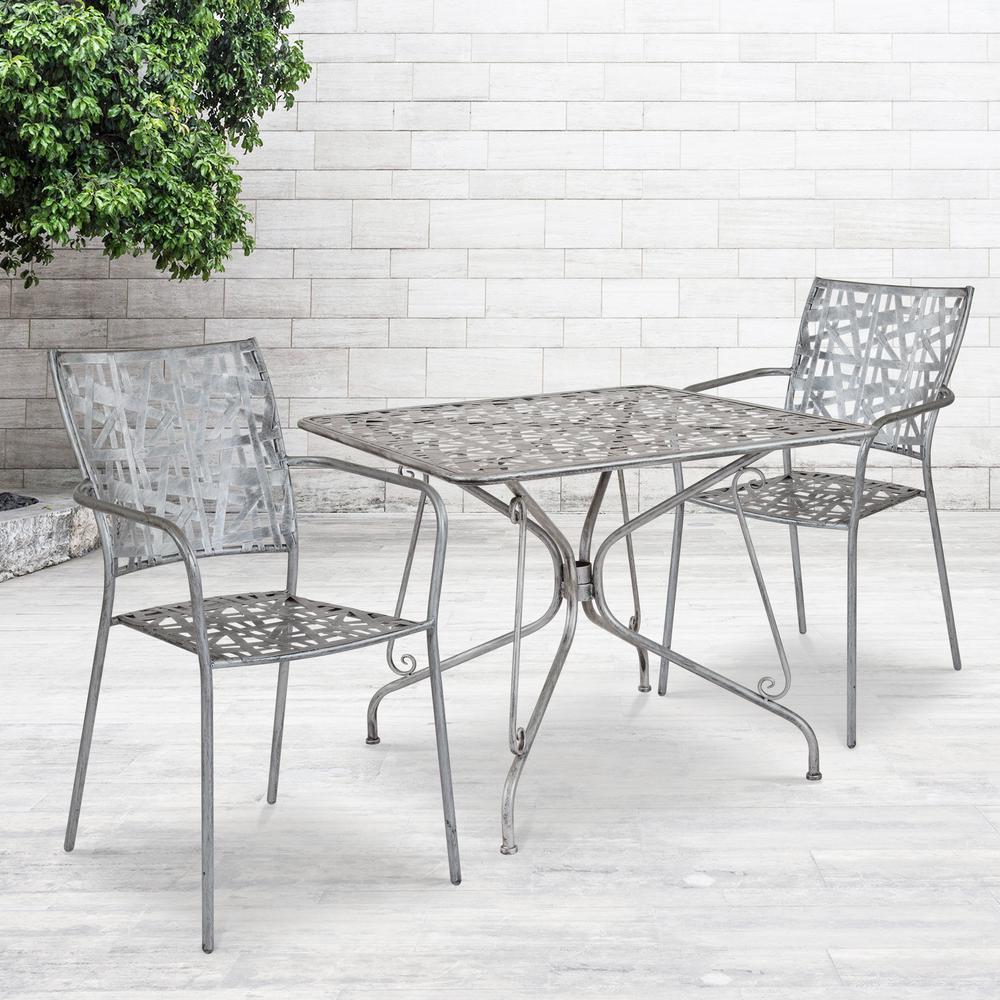 Antique Silver Square Metal Outdoor Bistro Table