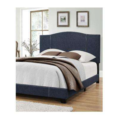 Queen All-In-One Modified Camel Back Upholstered Bed in Denim Vintage Blue