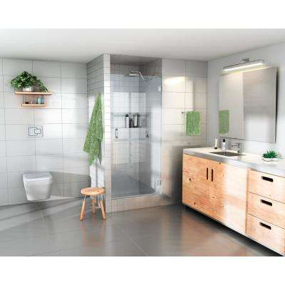 27 in. x 78 in. Frameless Glass Hinged Shower Door in Chrome Door Only