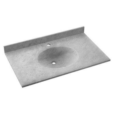 Ellipse 37 in. W x 22 in. D Solid Surface Vanity Top with Sink in Ice