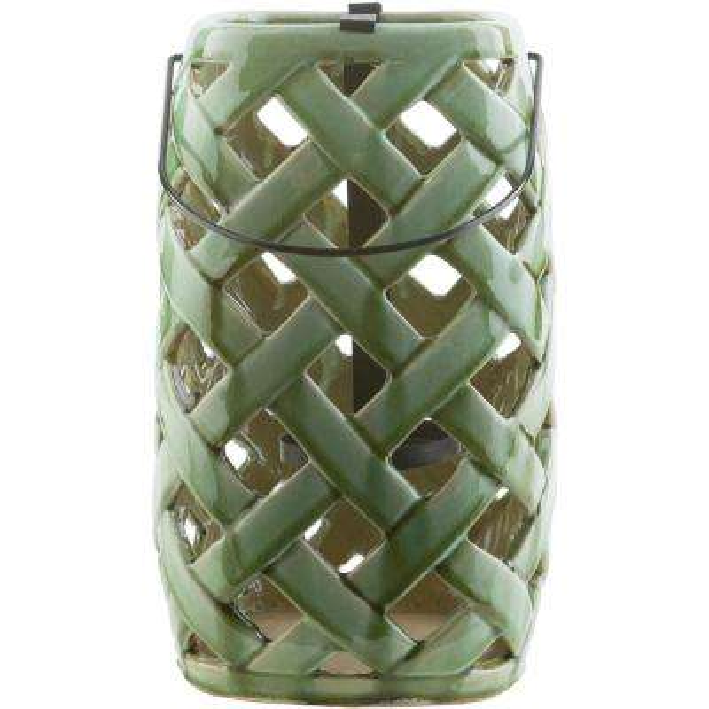 Jaxson 12 in. Grass Green Ceramic Lantern
