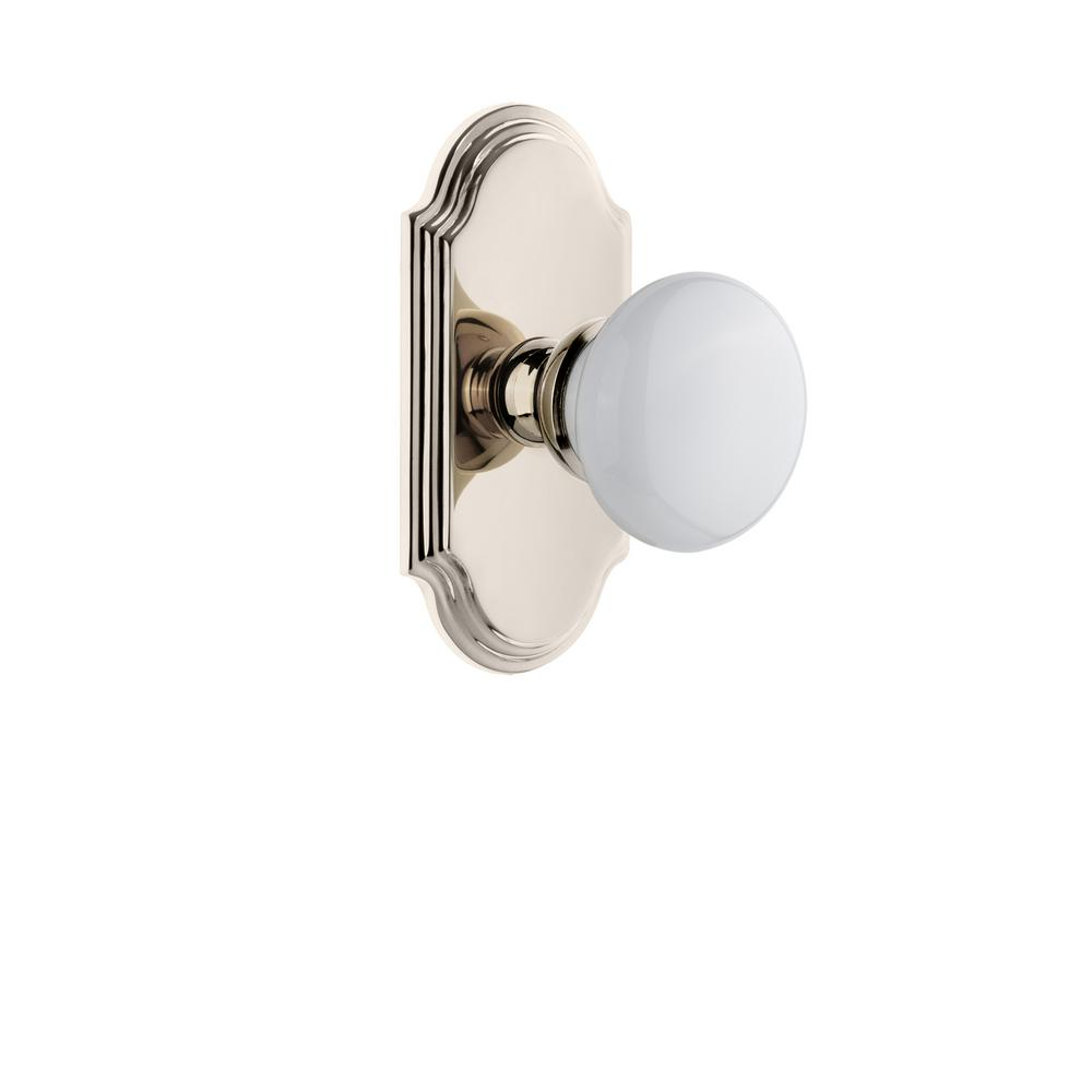 Arc Plate 2-3/4 in. Backset Polished Nickel Passage Hall/Closet with Hyde