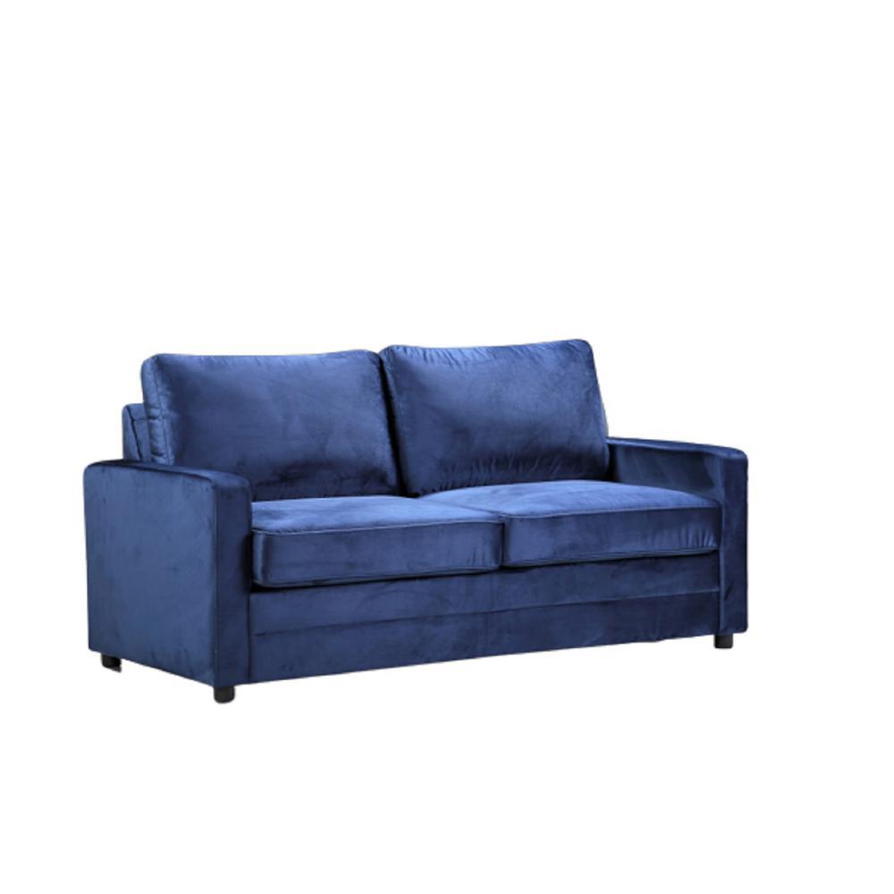 Rivian Dark Blue Velvet Sofa Bed Slepper with Mattress