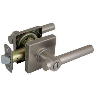Woodbridge Satin Nickel Privacy Door Lever with Square Rose