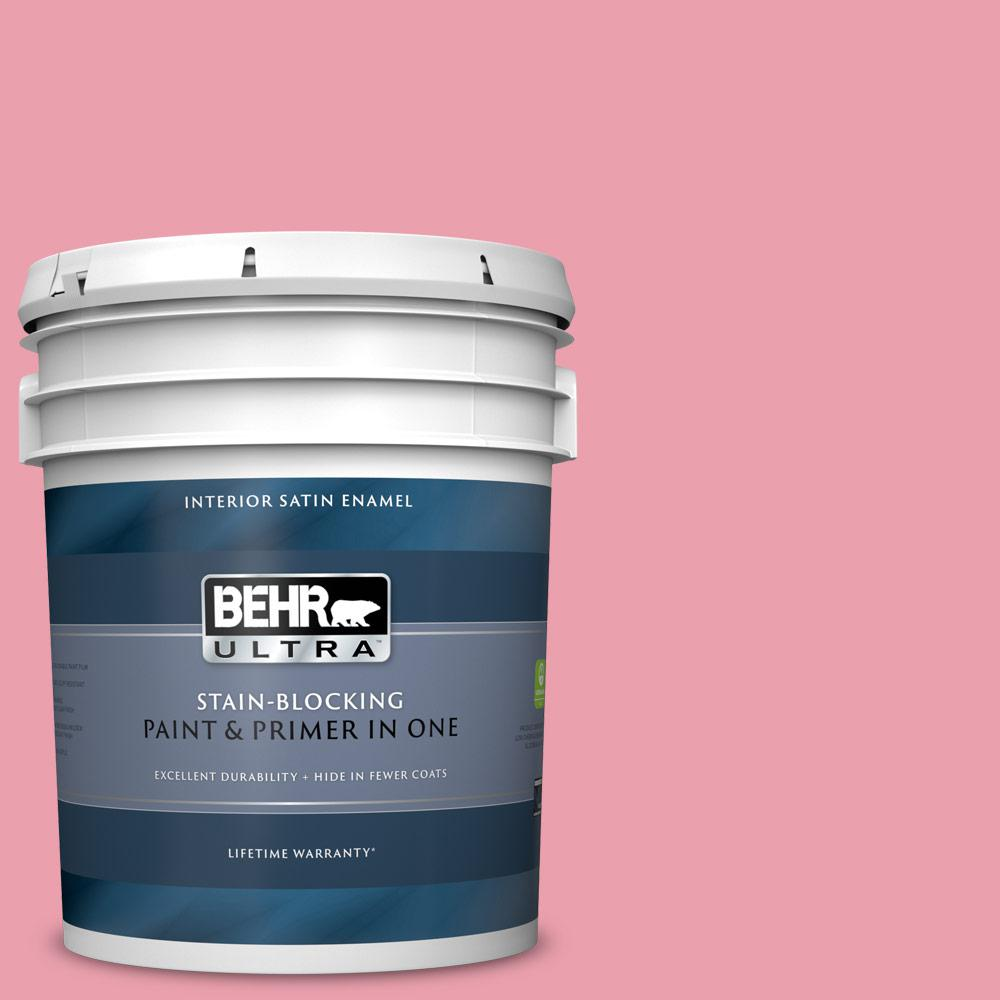 Behr Ultra 5 Gal P150 3 Pinque Satin Enamel Interior Paint And Primer In One 775005 The Home Depot