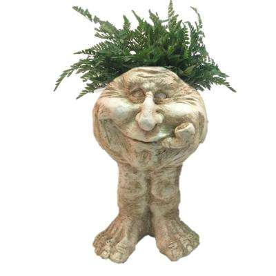 18 in. Antique White Old Hickory Muggly Planter Home and Garden Statue Holds 6 in. Pot