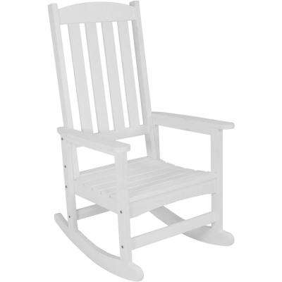 All-Weather White Traditional Plastic Patio Rocking Chair