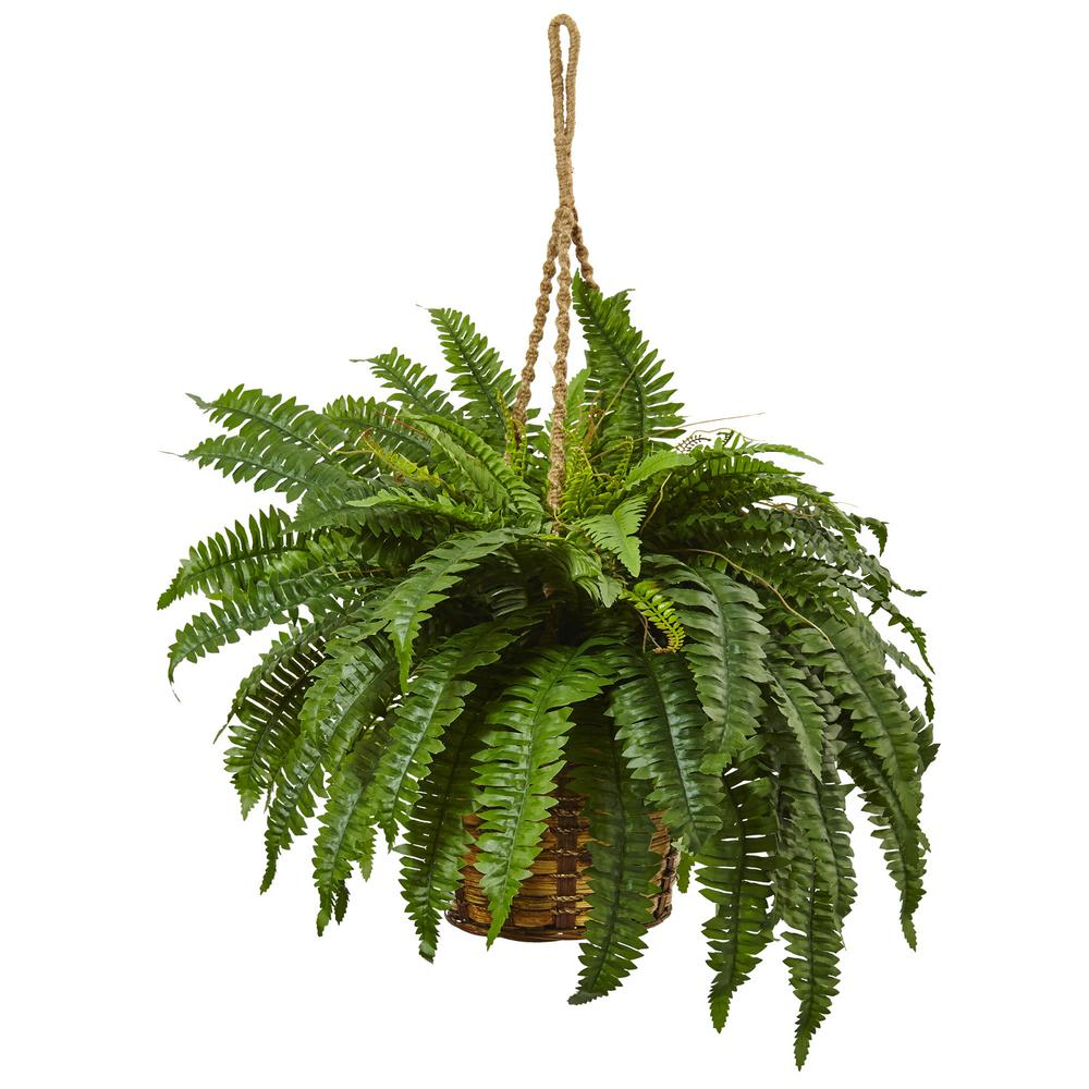 Nearly Natural 29 In Boston Fern Hanging Basket 6931 The Home Depot
