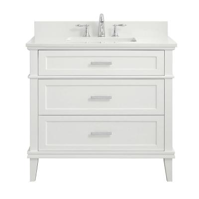 Woodfall 37 in. W x 22 in. D Bath Vanity in White with Engineered Marble Vanity Top in Winter White with White Basins