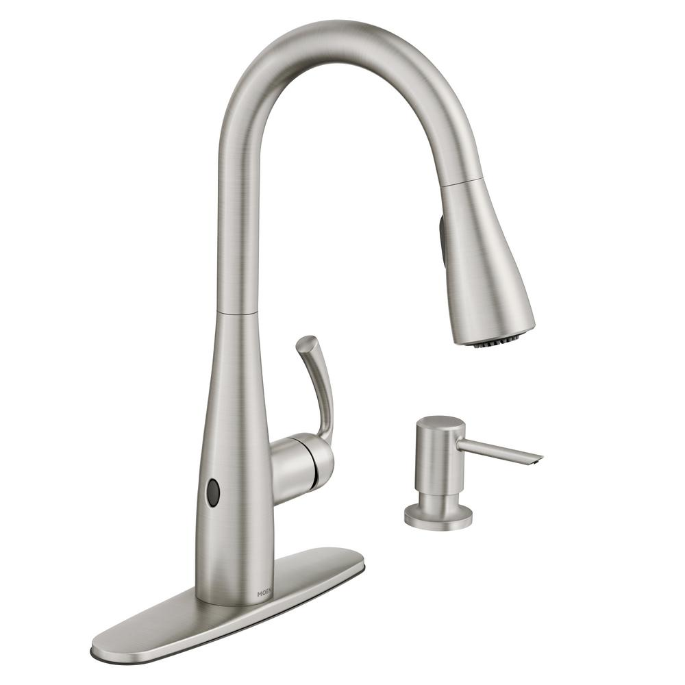 MOEN Essie Touchless Single Handle Pulldown Sprayer Kitchen Faucet In Spot  Resist Stainless