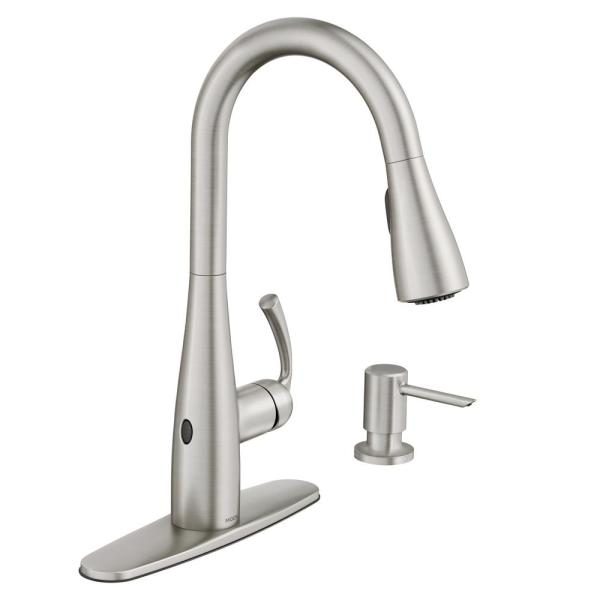 Moen Essie Touchless 1 Handle Pull Down Sprayer Kitchen Faucet With Motionsense Wave And Power Clean In Spot Resist Stainless 87014ewsrs The Home Depot