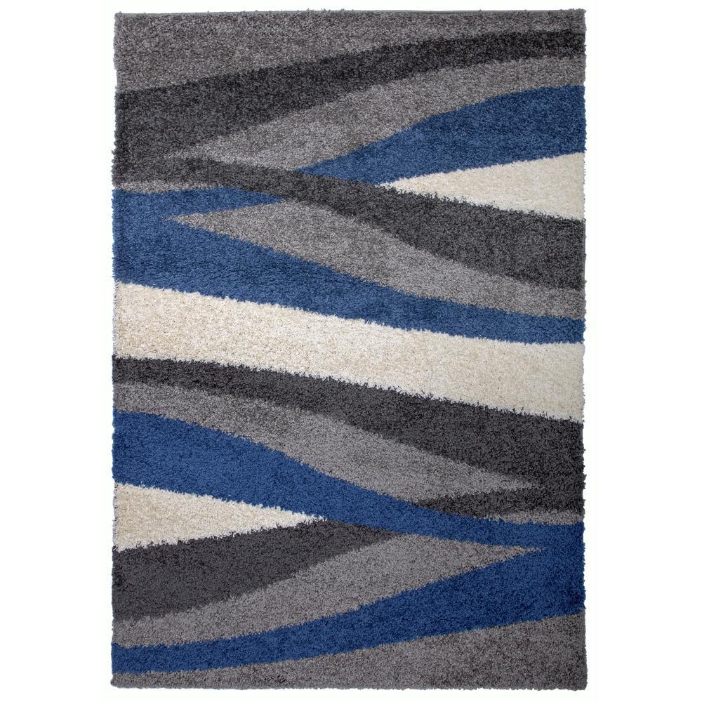 Cozy Shag Waves Area Rug 5' x 7' Blue