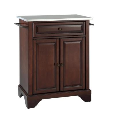 Lafayette Mahogany Portable Kitchen Island with Stainless Steel Top