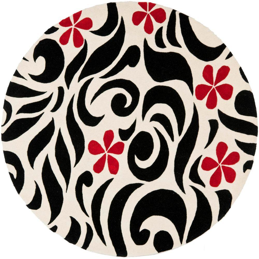 Soho Ivory/Black 6 ft. x 6 ft. Round Area Rug