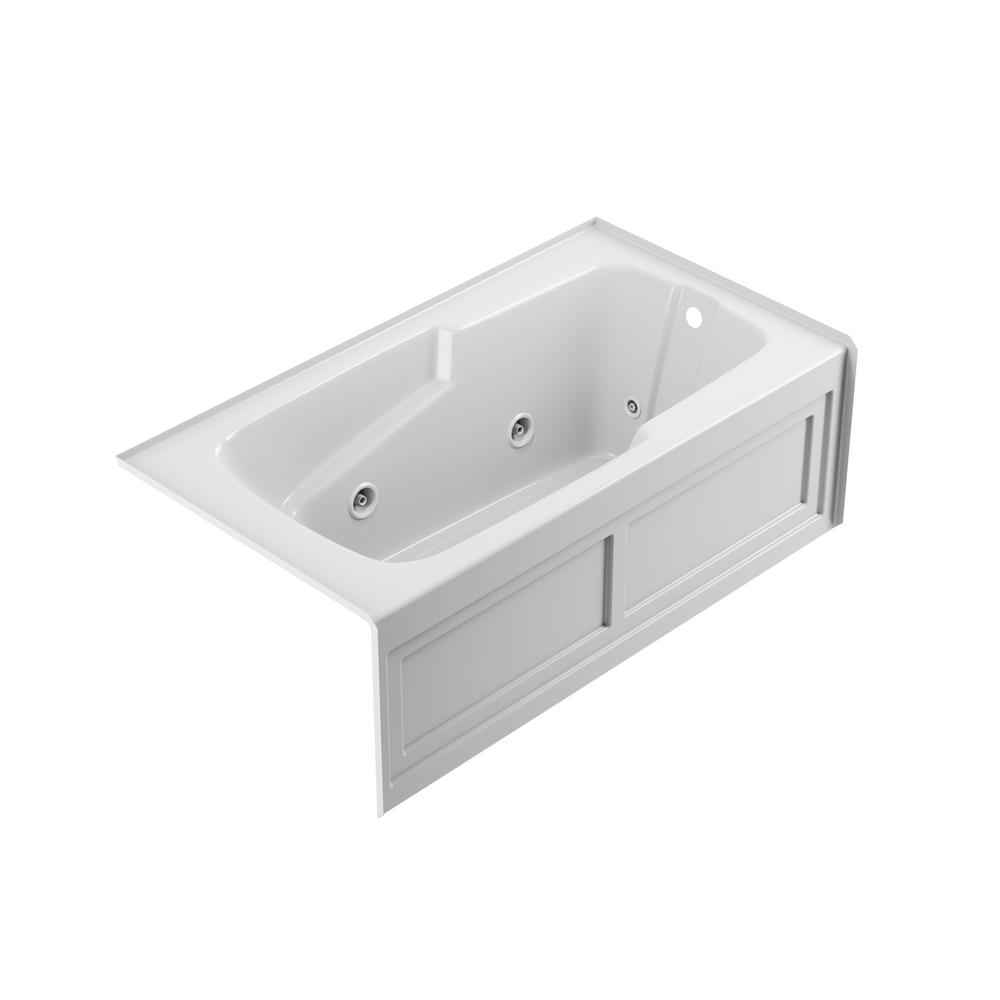 JACUZZI CETRA 60 in. x 32 in. Acrylic Right Drain Rectangular Alcove Whirlpool Bathtub in White