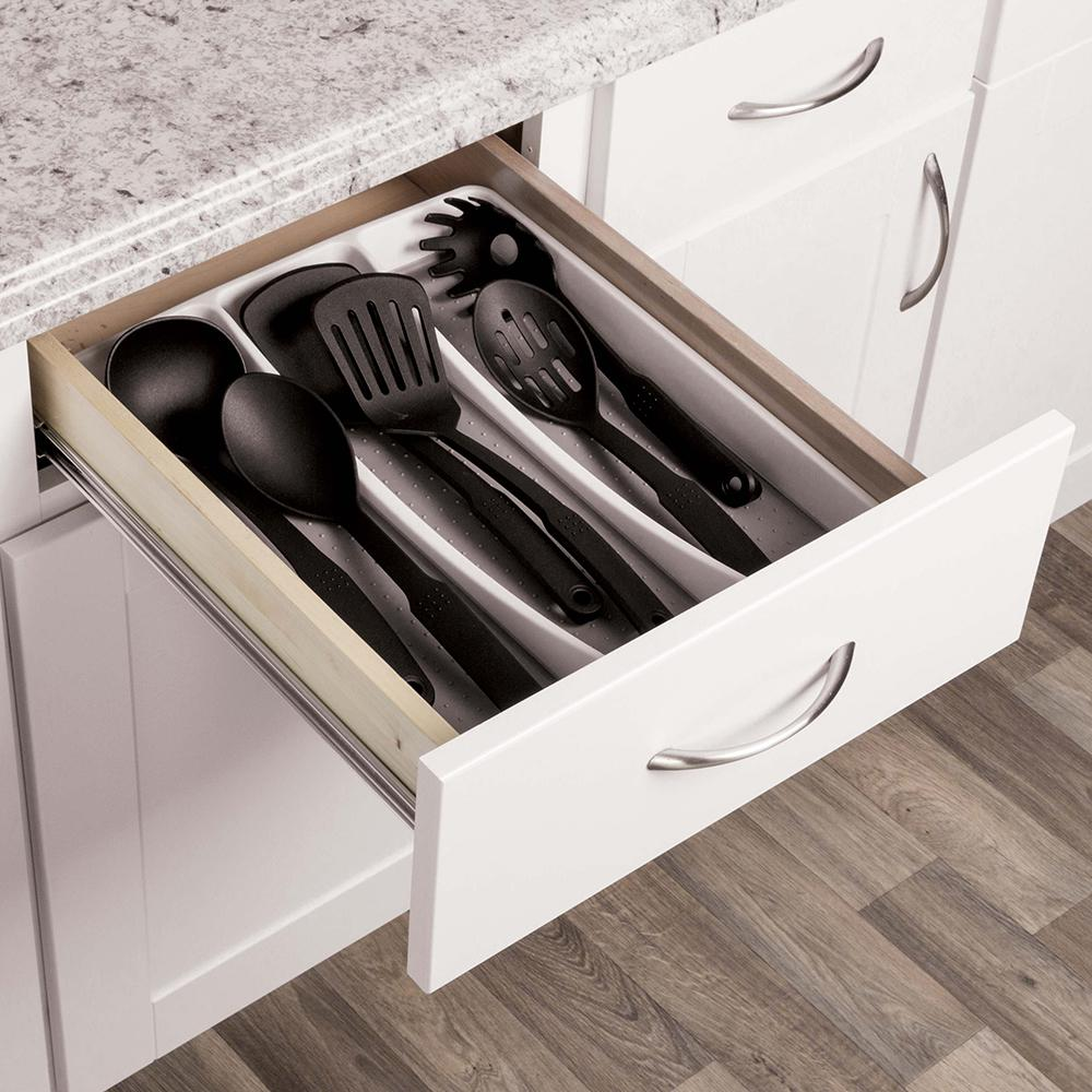 Real Solutions For Real Life White Plastic Utility Drawer Organizer RS UTNSLORG W    The Home Depot
