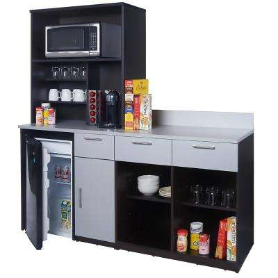 Coffee Kitchen Espresso / Silver Sideboard with Lunch Break Room Functionality with Assembled Commercial Grade 3416