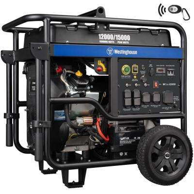WGen12000 15,000/12,000 Watt Gas Powered Portable Generator with Remote Start and Transfer Switch Outlet for Home Backup