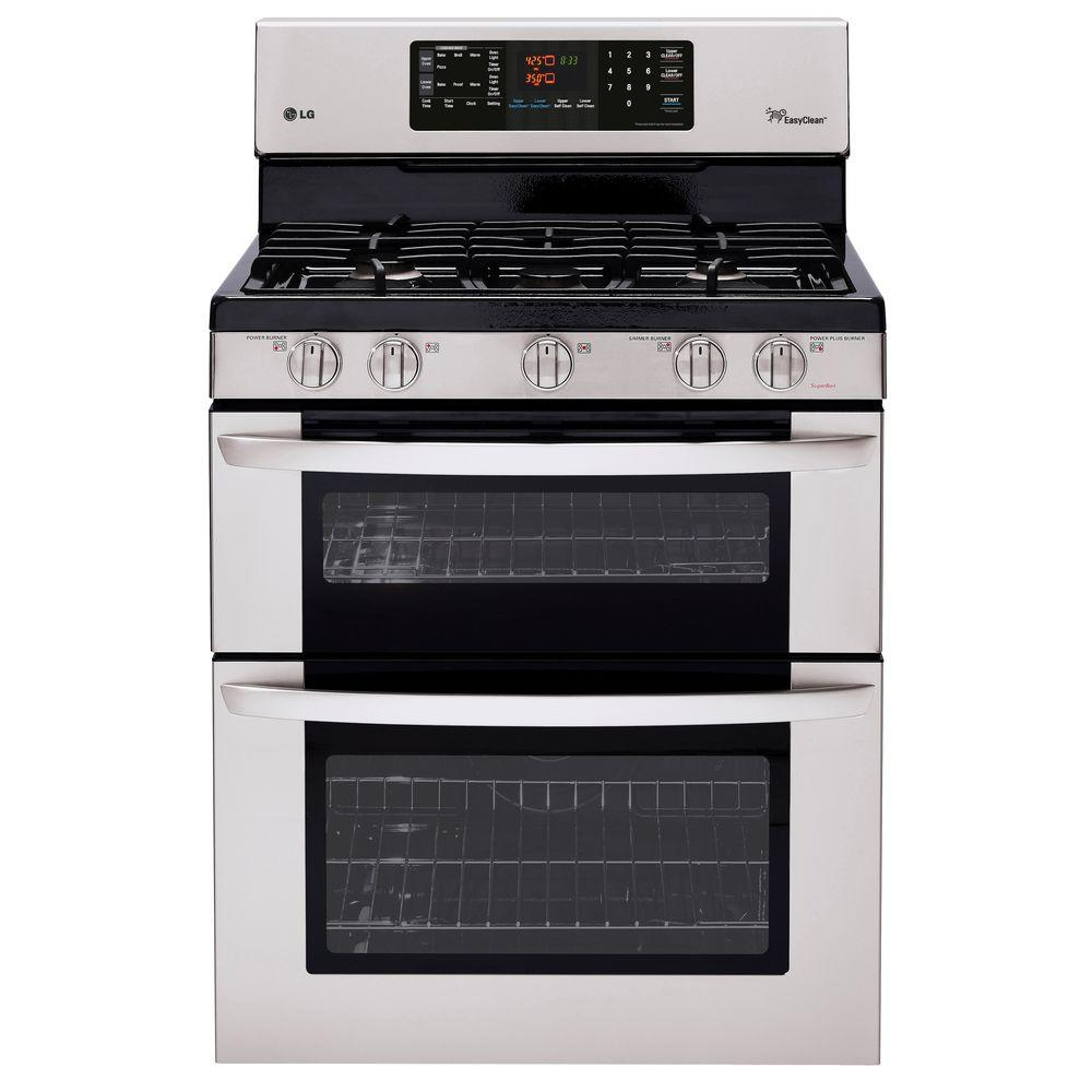 LG Electronics 6.1 cu. ft. Double Oven Gas Range with EasyClean Self-Cleaning Oven in Stainless Steel