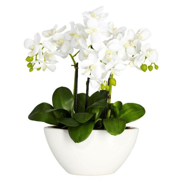 Nearly Natural 16 in. H White Phalaenopsis Silk Flower Arrangement 4804